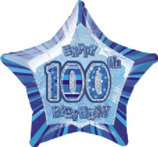 Blue Glitz 'Happy 100th Birthday' Foil Balloon